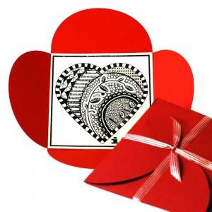 Valentine Zentangle Inspired free printable and petal card die cut