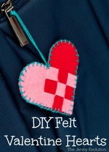 DIY Felt Valentine Hearts
